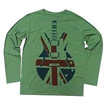 Rock Style ユニオンジャックでレスポールギターロングスリーブ UNION JACK WEAPON (L, KHAKI)