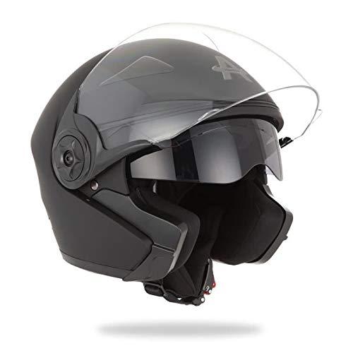 AMX, casco moto jet awax elite negro mate, L