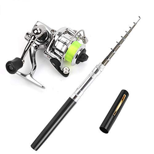 PiscatorZone Pen Fishing Pole 39 Inch Mini Pocket Fishing Rod and Mini Metal Spinning Wheel Travel Fishing Rod Set for Ice Fly Fishing Sea Saltwater Freshwater (Black, 39In)