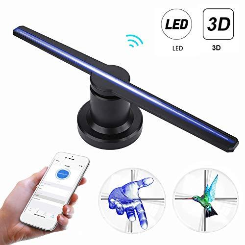 VBESTLIFE 3D Hologramm Projektor, WiFi LED tragbarer Hologramm-Spieler 3D holographischer Dispaly-Fan,3D-Hologramm-Werbeanzeige für Windows XP, für Windows 7/8/10 Computersysteme.(EU)