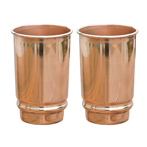 HealthGoodsIn - Pure Copper (99.74%) Tumbler Set of 2 | Travellers Copper Glass for Serving Water | 350 Ml (11.8 US Fluid Ounce) Capacity