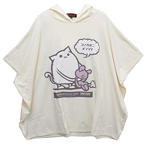 【Deorart ディオラート】ヴィンテージ仕上げ ポンチョTシャツ (ネコモドキBUB) DRT2582 (ホワイト,L)