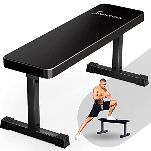 SPORTSTECH Banc de musculation sport à domicile  Équipement fitness à la maison  Banc d'haltérophilie muscu & développé-couché  Banc plat pour Power Station + Power Rack  Banc de fitness BRT50 (BRT50)