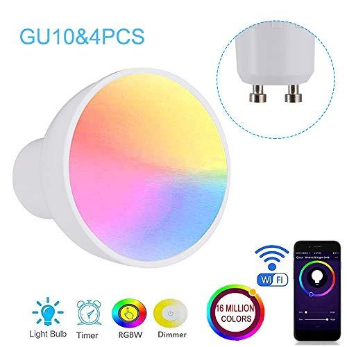 Lilideni GU10 / E27 / GU5.3 WiFi Intelligente Glühbirne RGBW 6W LEDs Dimmbare Lampenschale Kompatibel mit-Alexa & Google-Home Remote