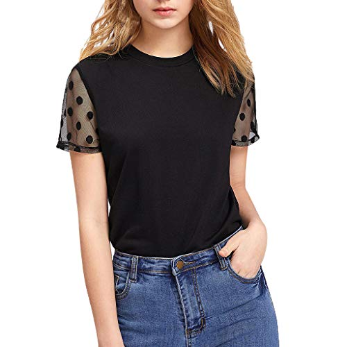 For Sale! Womens Blouse, Sheer Short Sleeve Pure Mesh Tops Tee Blouse (Black, S)