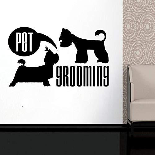 Tierpflege Wandtattoo - Hundepflege Salon Dekor - Tier Aufkleber für Tierhandlung Fenster - Hundeliebhaber Geschenk DIY Wandbild 57 * 96cm