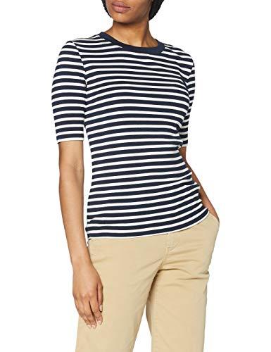 GANT D1. Striped Rib SS Top Camiseta, Evening Blue, L para Mujer