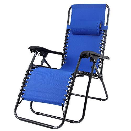 Casaria Liegestuhl Verstellbar Kopfpolster Klappbar Stahl Fußschoner Garten Liege Hochlehner Gartenstuhl Blau