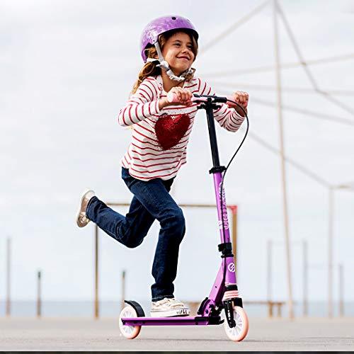 Scooter Cityroller Roller Tretroller Klappbar 125 mm Räder bis 100kg, Kickscooter Tret-Roller klappbar Erwachsene Kinderroller Sehr langlebig,Pink