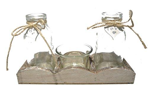 Decpero Juego de 4 piezas compuesto de bandeja de madera con 2 jarrones y 1 portavelas de té.