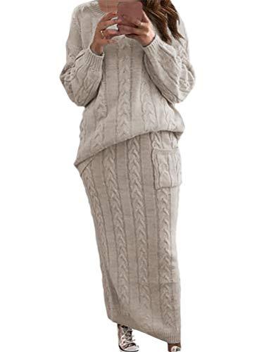 ORANDESIGNE Damen Strickkleid Zweiteiliger Anzug Pullover Oberteil und Midi Strickrock Bodycon 2 Stück Set Midikleid Rollkragen Pulloverkleid...