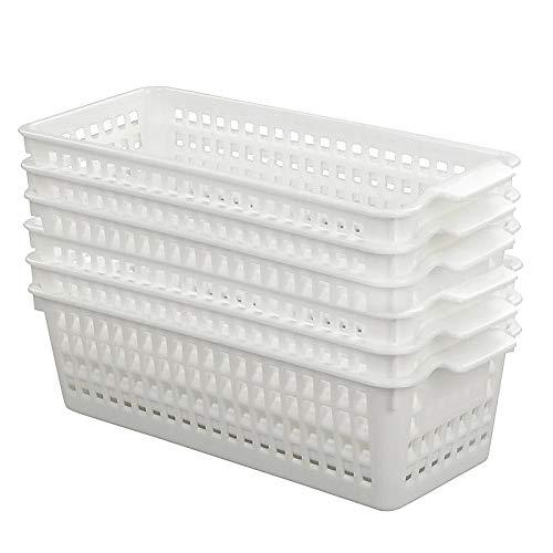 Fosly 6 Stück Körbchen aus Plastik, Aufbewahrungskörbe Plastik, Kunststoff haushaltskorb, Weiß