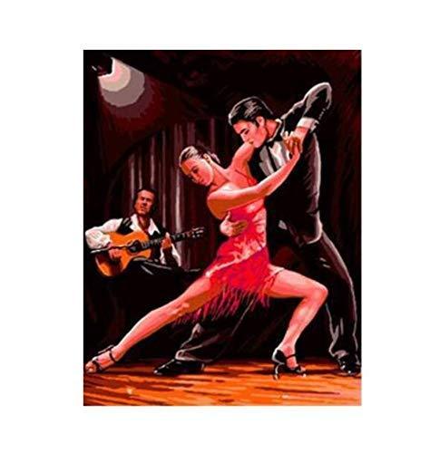 ZHAOSHOP Ölgemälde Tanzendes Paar DIY Auf Leinwand Europa Dekoration Bild für Wohnzimmer-40x50cm Ohne Rahmen DIY Digitale Malerei