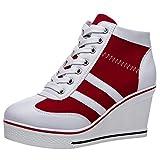 rismart Mujer Tenis de Lona con Tacon Cuña Zapatillas Sneakers Plataforma Alta Altos Zapatos SN02513(Rojo,39 EU)