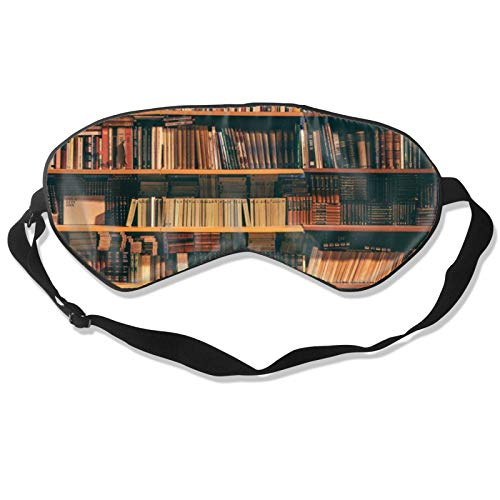 Book Case with Books Blindfold & Eye Sleep Mask with Adjustable Head Strap, Durable Soft Eye Cover for All Night Sleep, Travel, Shift Work, Meditation, Nap