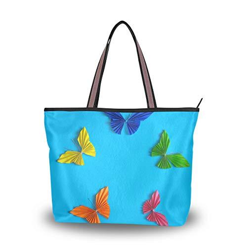 Rootti - Bolso de mano para mujer con cremallera, diseño de mariposas de origami de colores grandes, bolsas de hombro para mujeres y niñas, reutilizables, para trabajo, viajes, compras, con asa