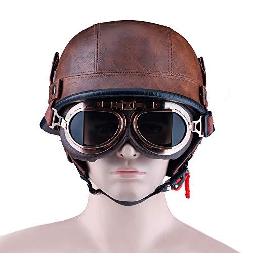 LUNANA Leder Halbschale Motorrad, Halbhelm mit Schutzbrillen, Halbschale Jet-Helm Roller-Helm, Retro Vintage Style, ECE-Zertifizierung (S、XXL)