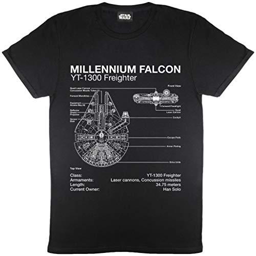 Star Wars Millennium Falcon Diagramma T-Shirt da Uomo Nero L | S-XXL, Star Wars Regalo Girocollo Graphic Tee, Idea Regalo di Compleanno per i papà