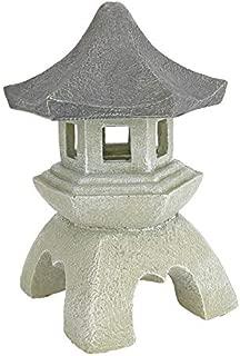 Design Toscano Asian Decor Pagoda Lantern Outdoor Statue, Medium 10 Inch, Polyresin, Two Tone Stone
