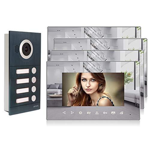 2 Draht 4 Familienhaus Türsprechanlage Gegensprechanlage Fischaugenkamera 170°, Farbe: Anthrazit, Größe: 4x7'' Monitor Spiegel Außenstation Anthrazit