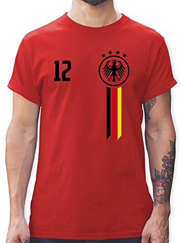 Fussball EM 2021 Fanartikel - 12. Mann Deutschland EM - XXL - Rot - Tshirt Herren Deutschland Flagge - L190 - Tshirt Herren und Männer T-Shirts