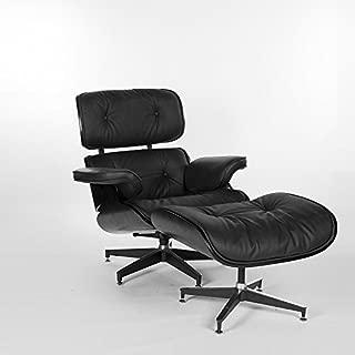 UPSUN EOE Simple Modern Fashion Style Living Room Genuine Leather Wood Lounge Chair and Ottoman (Black Oak Balck)