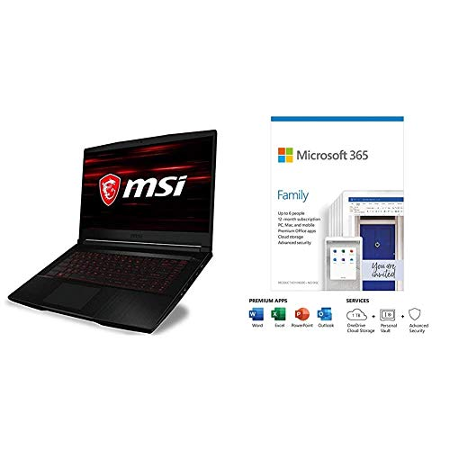 MSI GF63 Thin 10SCSR-048 - 15.6 Inch Full HD 120hz Gaming Laptop, Intel Core i7-10750 + Microsoft 365 Family | 6 Users | Box