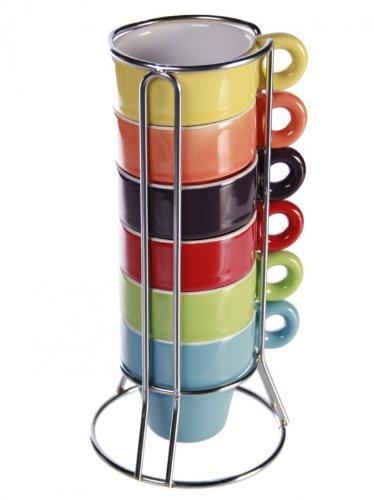 6er Set farbige Espressotassen im Ständer als Geschenkidee