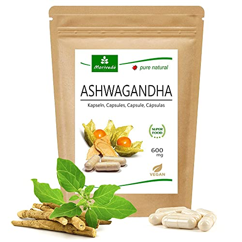 MoriVeda® - Ashwagandha cápsulas 600 mg o tabletas 1000 mg - ingredientes naturales - cereza de invierno, ginseng indio (120 cápsulas)