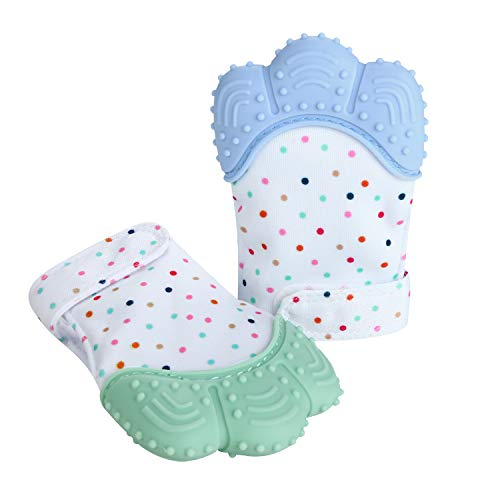 Price comparison product image PandaEar Soothing Teething Mitten 2 Pack,  Pain Relief,  Protection Glove,  Stimulating Teether,  3 Months Plus
