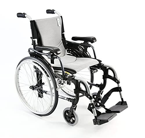 Karman Healthcare S-305 29 lbs Ultra Light Ergonomic Wheelchair with Removable Footrest and Quick Release Wheels Silver Color