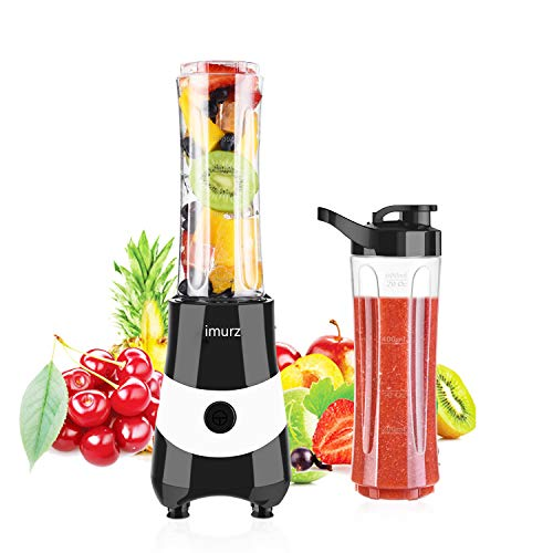 Personal Blender for Shakes, Smoothies, imurz Mini Smoothie Maker 300 Watt with 2 Tritan 20 Oz Sports Cups, BPA-Free, Small Portable Countertop Blenders for Office, Travel (Black)