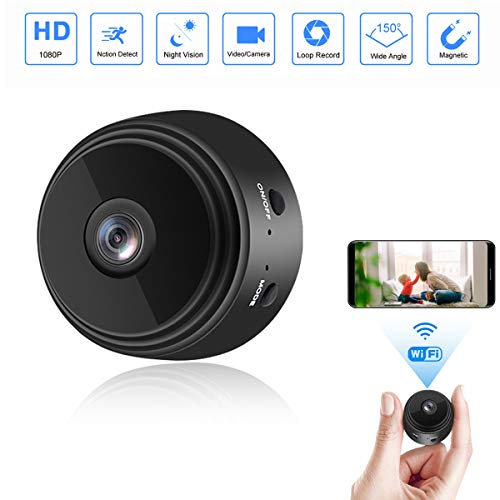 Mini Camera WiFi Wireless Video Camera 1080P HD Small Home Security Surveillance Cameras with 32G SD Card,NEFRIA Portable Tiny Nanny Cam with Night Vision Motion Detection for Car Indoor Outdoor