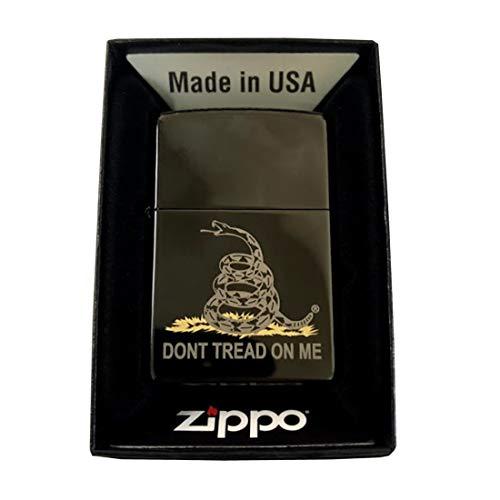 Zippo Custom Lighter - High Polish Black Don't Tread On Me Rattlesnake Gadsden Flag American Revolution