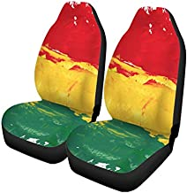 Semtomn Set of 2 Car Seat Covers Colorful Reggae Colors Green Rasta Jamaica Universal Auto Front Seats Protector Fits for Car,SUV Sedan,Truck
