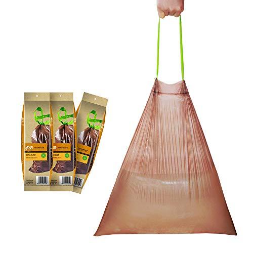 Manfâ Sacs poubelle Fermeture automatique poubelle 45 * 50 cm 20 l - 90 sacs dégradable Marron Cadeau 10L supplémentaire 8 sacs