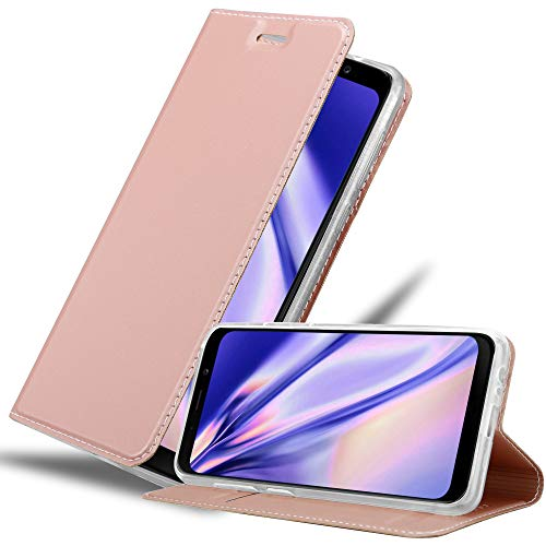 Cadorabo Hülle für Samsung Galaxy A8 2018 in Classy ROSÉ Gold - Handyhülle mit Magnetverschluss, Standfunktion & Kartenfach - Hülle Cover Schutzhülle Etui Tasche Book Klapp Style