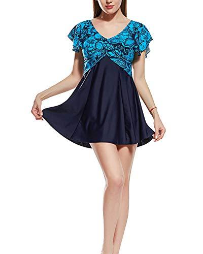 Mujer Traje de Bao Falda Elegante con Estampado Floral, Baador Cuello en V de Dos Piezas Sexy Tankini Vest + Short de Bao Traje Conjunto de Baador Color 1 US6