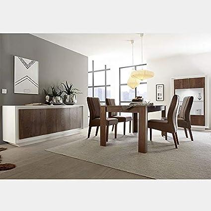 M 012 Set Sala Da Pranzo Moderno Bianco E Colore Legno Erine 6 Amazon It Casa E Cucina