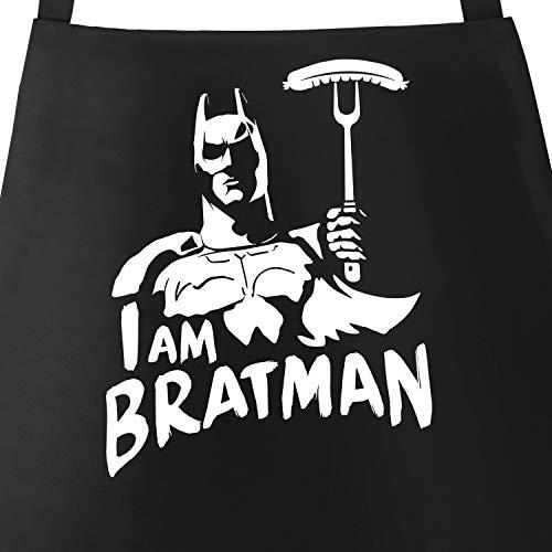 MoonWorks® Grill-Schürze für Männer mit Spruch I am Bratman Grillschürze Parodie Film Comic Baumwoll-Schürze Küchenschürze schwarz Unisize