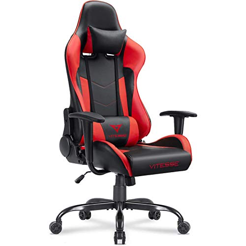 VIT Computer Gaming Chair Racing Style High Back PC Chair Ergonomic Office Desk Chair Swivel E Sports Leather Chair with Lumbar Support and Headrest, Red