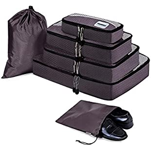 HOPERAY Packing Cubes Travel Organizer Mesh Bags - 6 pcs Lightweight Set Travel Gear Bag Accessories for Women Men Kids Carry-on Luggage Suitcase and Backpacking Slim Medium & Large(grey)