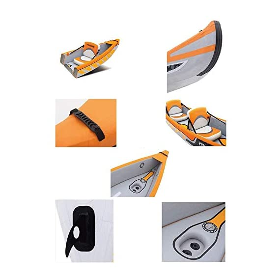 JNWEIYU Double Canoe Kayak, High-end Inflatable Boat, Brushed Material,2-Person Inflatable Kayak Set with Aluminum Oars… 3 Inflated size:Single 325 X 72cm , Double 425 x 78cm. Includes a high-output pump and aluminium oars. Capacity person maximum weight 120kg/200kg.
