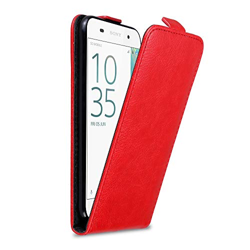 Cadorabo Hülle für Sony Xperia E5 in Apfel ROT - Handyhülle im Flip Design mit Magnetverschluss - Hülle Cover Schutzhülle Etui Tasche Book Klapp Style