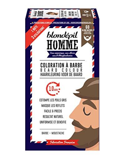 BLONDEPIL HOMME Coloration A Barbe BLOND Naturel - Barbe & Moustache - Kit 3 utilisations