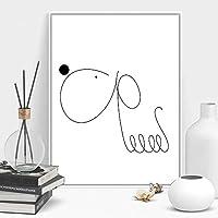 KDSMFAカワイイ犬ミニマリズムアートキャンバスポスター絵画抽象的なシンプルな壁の絵プリントモダンな家のリビングルームの装飾/ 16x24インチ40x60cm(フレームなし)