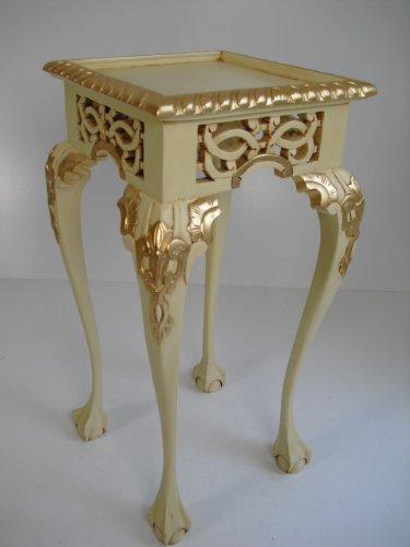 handmade Console, Pflanzensäule, Beistelltisch, Art Chippendale mit Goldblattauflagen in elfenbeinfarben, Leichter Antiklook