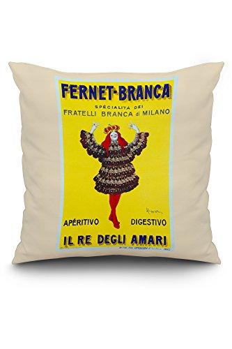 Fernet - Branca - Il Re degli Amari Vintage Poster (artist: Cappiello, Leonetto) France c. 1911 (20x20 Spun Polyester Pillow Case, White Border)