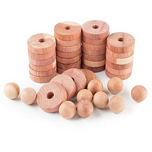 AHDECOR Zedernholz - Mottenschutz Set aus 30 Ringen und 10 Zedernholz Bälle für den Kleiderschrank - Schützt die Kleidung vor Motten - Kleiderbügel Mottenfalle
