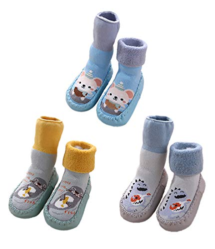 3 Pairs Infant Baby Slippers Socks Shoes with Grips for Toddler Boys Girls Non-slip Animal Moccasins Boots Warm (Grey Blue Green, 6-12 Months)